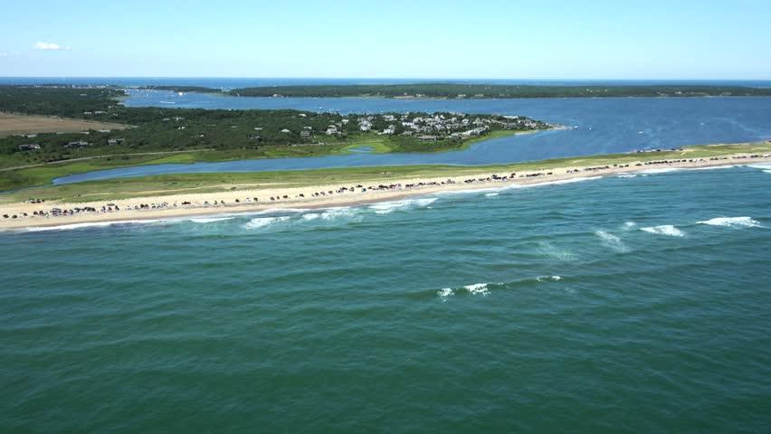 Cars on Beach, 4k aerial, Martha's Vineyard, Ma. - 4K stock video clip