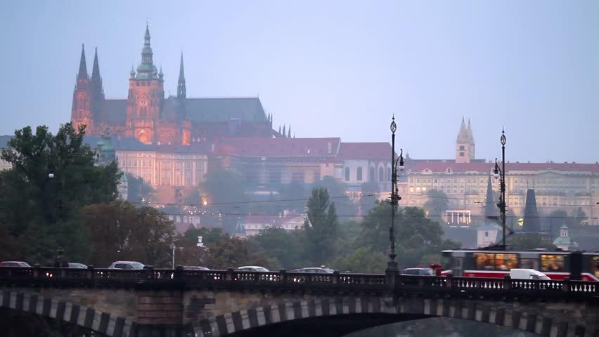 Prague, Czech Republic - Sept 12 2012, Tram passes over the bridge, on Sept 12, 2012 in Prague, Czech Republic