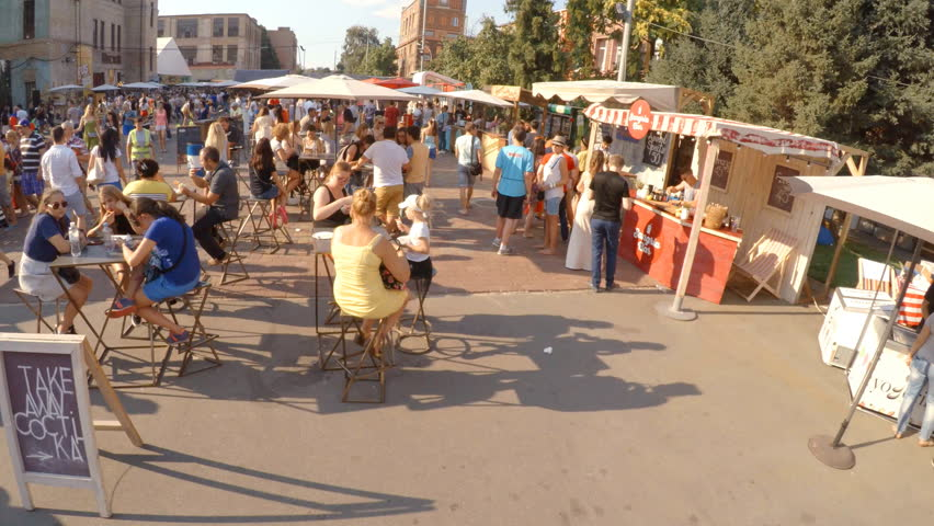 "16.08.2015 Kyiv (Kiev), Ukraine, Festival street food on the art factory ""Platform"" - 4K stock video clip"