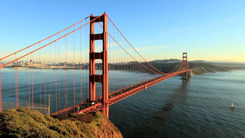 Golden Gate Bridge at Sunset - Time Lapse - HD stock video clip
