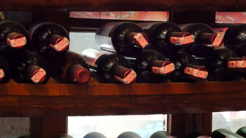 SIRINCE, IZMIR, TURKEY - MAY 2015: wine bottle shelf, store