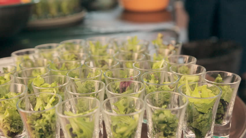 Lettuce in serving containers for the catering