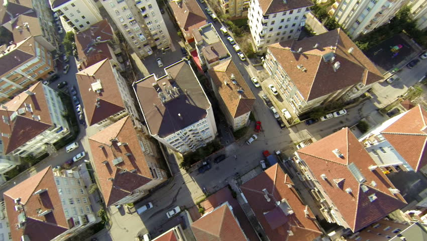 Aerial view of a residential area on a clear bright day