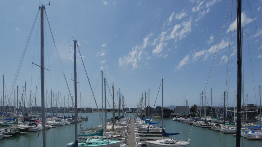 Richmond, California - August, 2015 - Rectilinear timelapse of boats at the Brickyard Cove Marina.