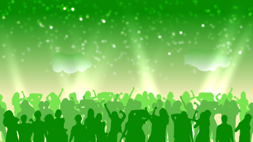 Crowd of dancing people. Over them the stylized sky with clouds and rays of searchlights. | Shutterstock HD Video #1147129