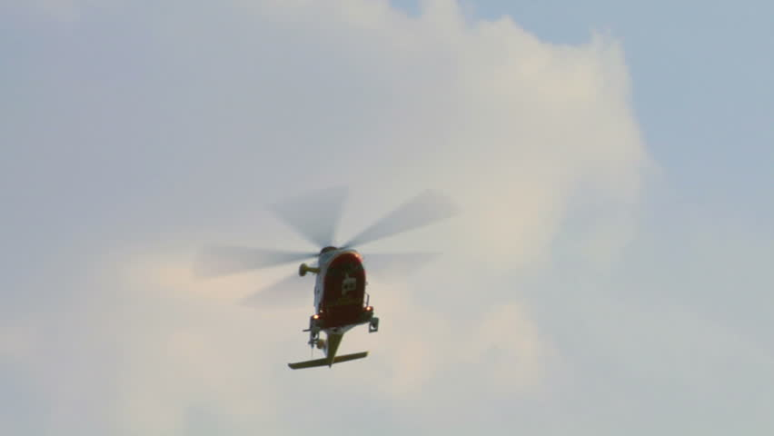Medical helicopter flying above