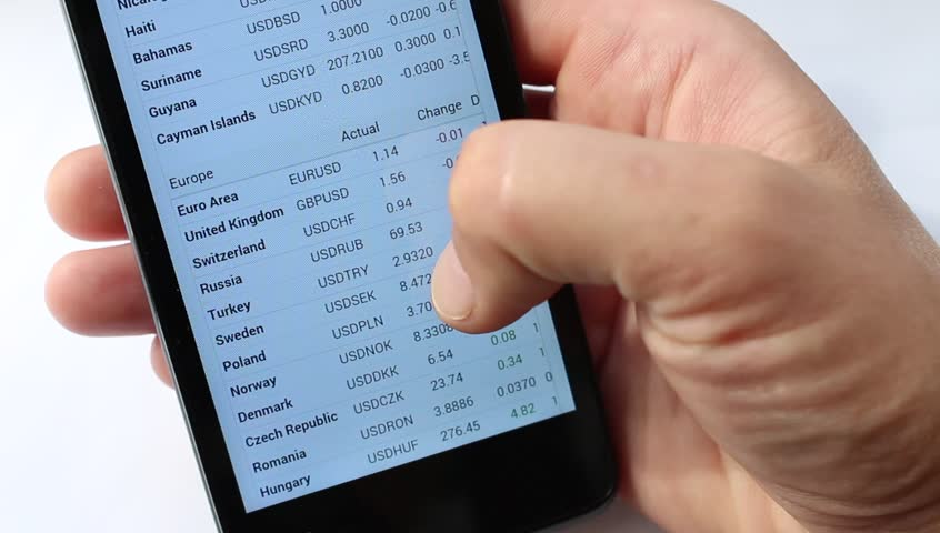 Exchange rates display in smart phone. Market Analysis. Exchange rate. Foreign exchange market. Fluctuations in exchange rates. List of circulating currencies by state or territory (Europe and Asia) - HD stock footage clip