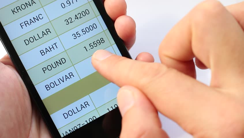A list of the world's national currency. Currency Rates On line. Exchange rates display in smart phone. Market Analysis. Currency symbol - HD stock video clip