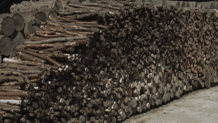 Log pile for burning HD stock footage, Hand held camera shot of a large Log pile waiting to be sold as fire wood. ProRes.
