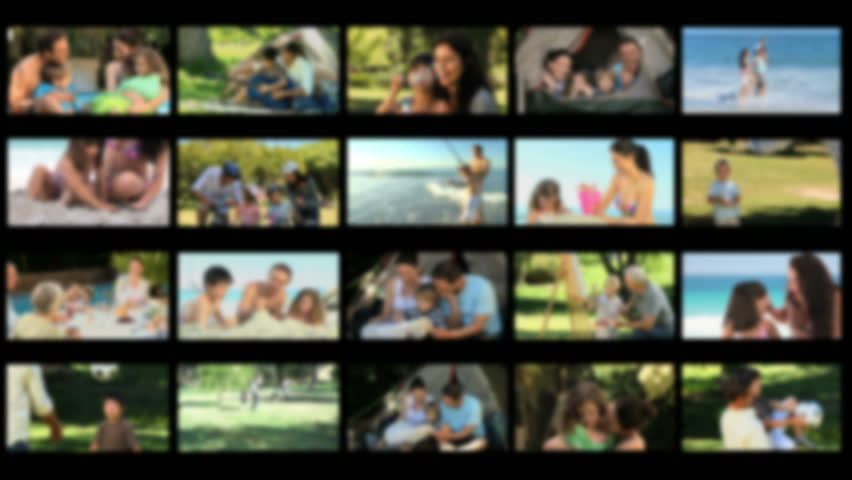 Montage of children having fun with their parents outside - HD stock video clip