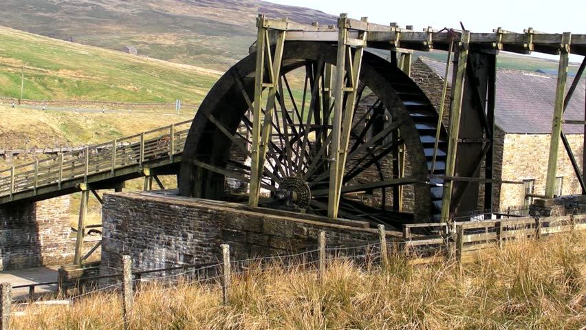 Old mining water wheel - HD stock footage clip