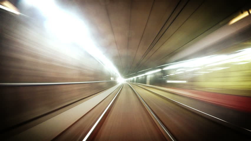 4K quality long footage of an underground train in Vienna following its route