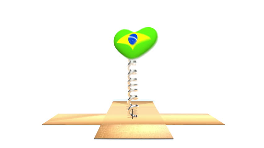 Cardboard box opens to reveal Brazilian flag on a heart, bouncing out in the style of a Jack in the Box.