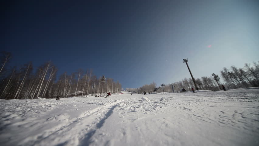 Snowboarding in mountains. Extreme-carving. - HD stock video clip