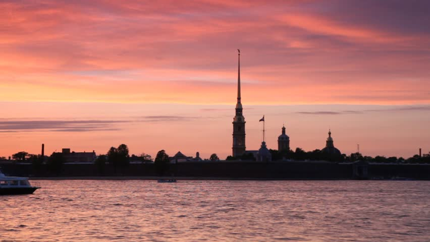 passenger boat floats across Neva by Peter and Paul Fortress - HD stock video clip