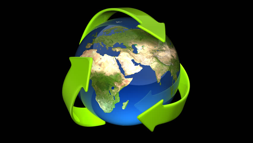 Earth recycling loop with alpha - HD stock video clip