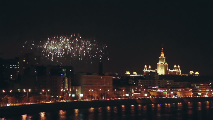 Moscow, Russia, August 2015 - Msu Building And Firework