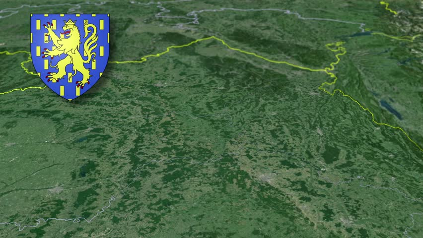 Franche-Comte whit Coat of arms animation map Regions of France