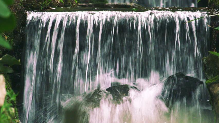 Rio de Janeiro, Brazil - June 2013: Botanical garden waterfall, very close-up and panning slowly. Shot in Rio, Brazil.