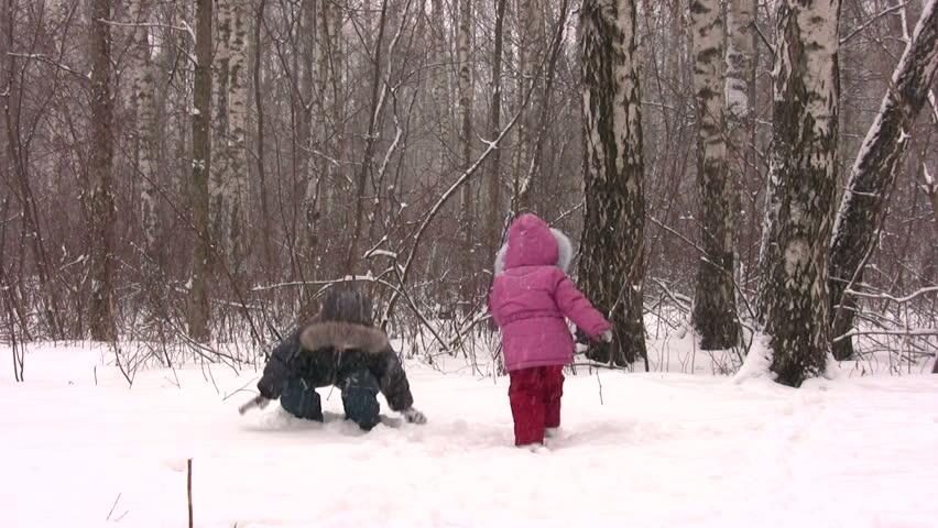 children throw snow - HD stock footage clip