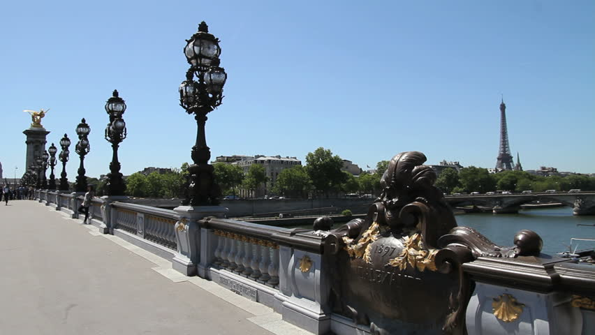 Eiffel Tower and Alexandre III bridge, Paris - HD stock video clip