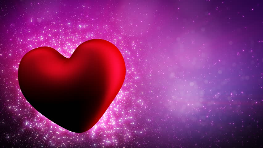 shining heart shape and particles loop last 10 sec - HD stock footage clip