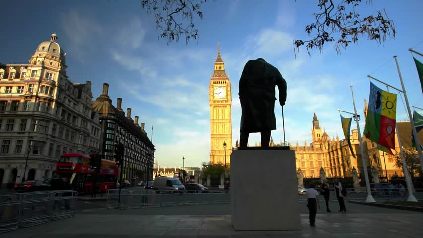 LONDON, JULY 2015: General View of Parliament Square, London, Big Ben amd Winston Churchill Statue Present
