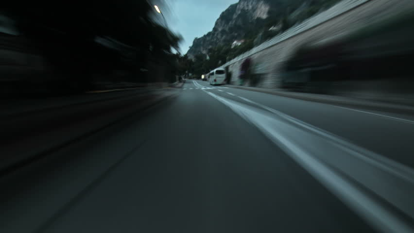 Driving time lapse in Monaco, France.