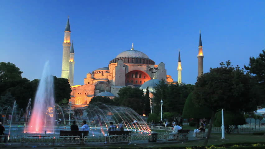 Sultanahmet night on front of Hagia Sophia   - HD stock video clip