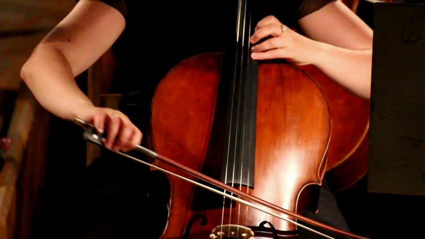 close-up view on violoncello in orchestra - HD stock video clip