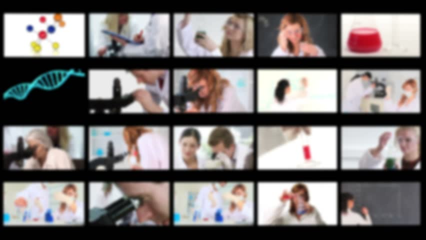 Montage of scientists conducting experiments in a lab - HD stock video clip