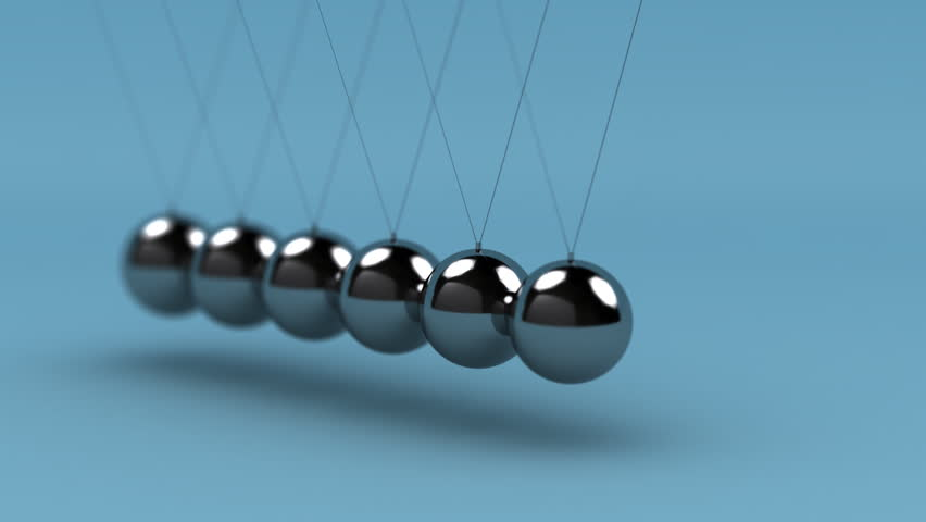 Newton's cradle with very shallow depth of field - LOOP - HD stock video clip