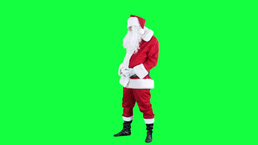 Santa Claus inspires someone chroma key (green screen). Santa turns to the audience asks for applause isolated on green