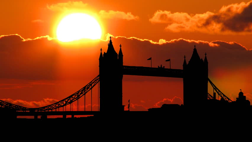 London Tower Bridge with a beautiful cloudy sunset in the background.