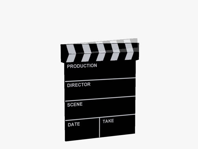 Animated film clapboard on white background with sound of the clap closing.