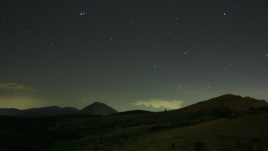 mountain stars at night time-lapse video 1080p