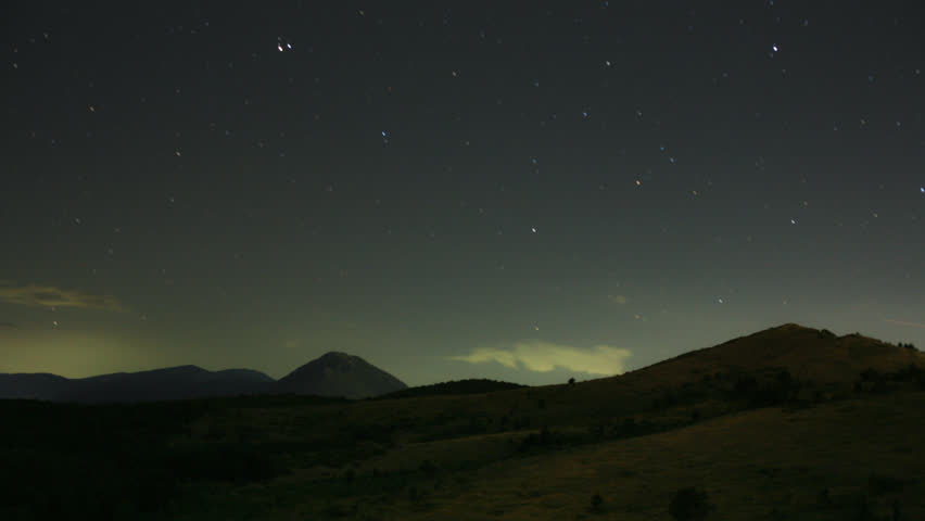 mountain stars at night time-lapse video 1080p