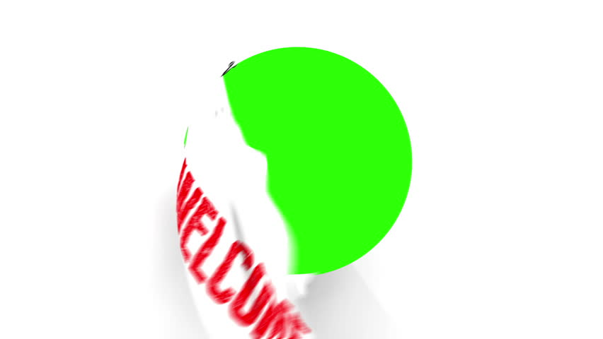 A pair of Chrome Scissors cut around a text of Welcome in Red. After half way, the circle the scissors have cut starts to fall from the screen. The camera zooms in to a green screen to a transition.