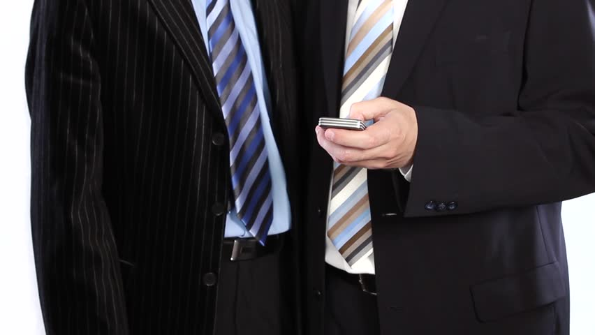 Business people  share ideas using cellphone - HD stock video clip