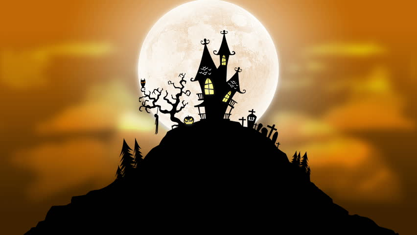 A spooky background of a haunted house with a full moon in the background.  The scene also features a bird with blinking eyes, flickering windows and pumpkins and a swinging hung corpse. - HD stock video clip