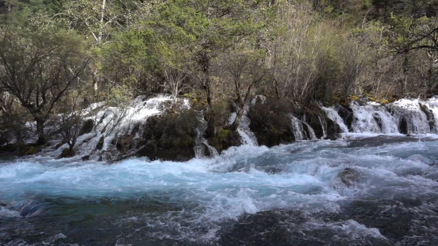blue water fall In Jiuzhaigou Nature Reserve,China Sichuan,Highspeed