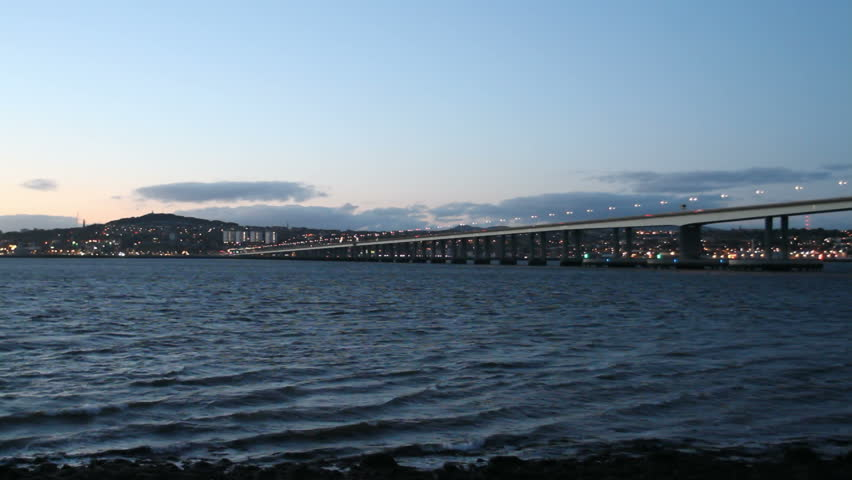 Timelapse of Tay Road Bridge and Dundee Waterfront at dusk Scotland - HD stock video clip
