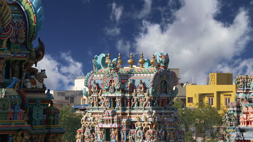 MADURAI, TAMIL NADU, INDIA- MARCH 10, 2011: Meenakshi hindu temple in Madurai, Tamil Nadu, South India   - HD stock video clip