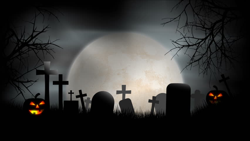 A creepy graveyard halloween background scene with graves, evil pumpkins and spooky moonlit sky. - HD stock footage clip