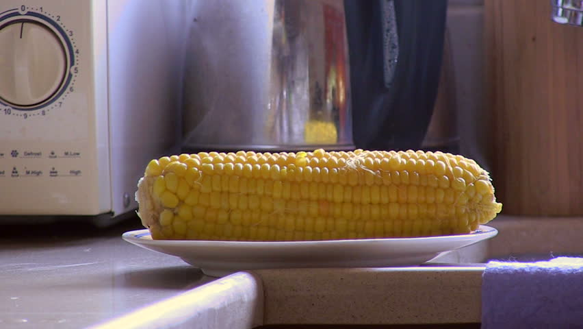 Sweet corn. Hot corn on the plate meal.