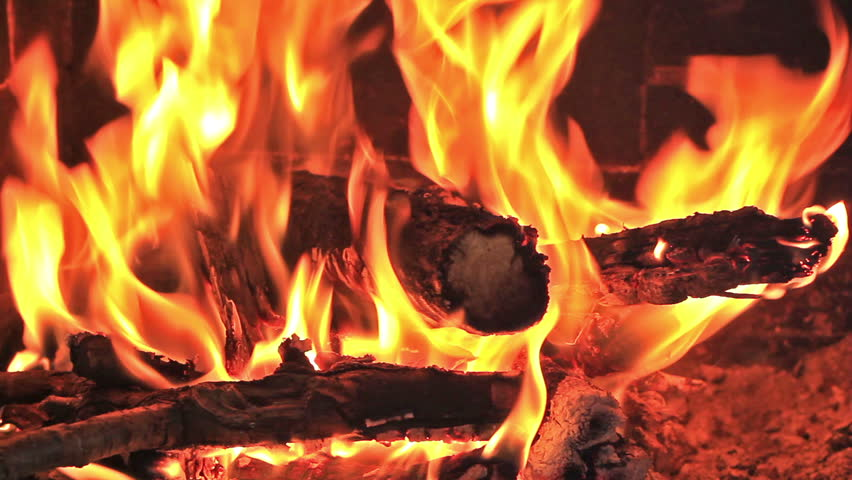 Hot fireplace full of wood and fire with the sound  - HD stock video clip