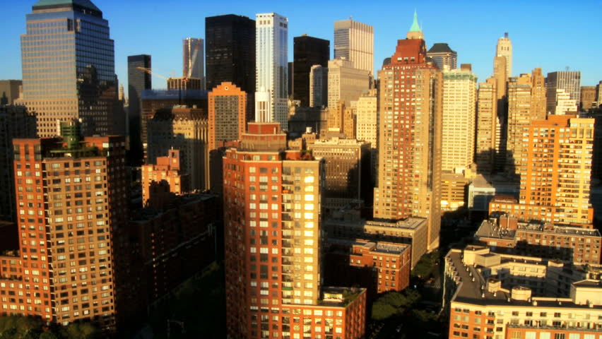 Aerial view of the Financial District Manhattan and Skyscrapers, New York City, North America, USA   Shutterstock HD Video #1277287