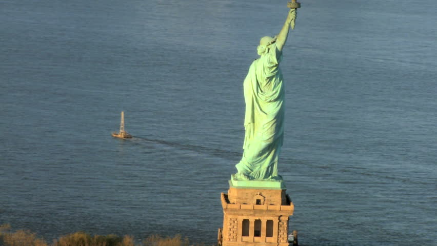 Aerial view of the Statue of Liberty, Ellis Island Manhattan, New York, North America, USA - HD stock video clip