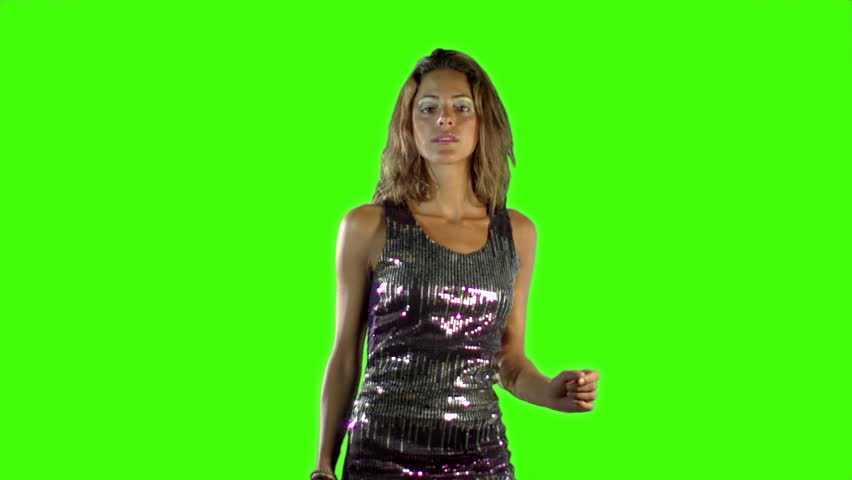 a sexy woman dancing shot against green chroma screen - HD stock video clip