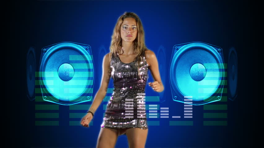 A Sexy Female Dj Dancing And Playing Records With Disco